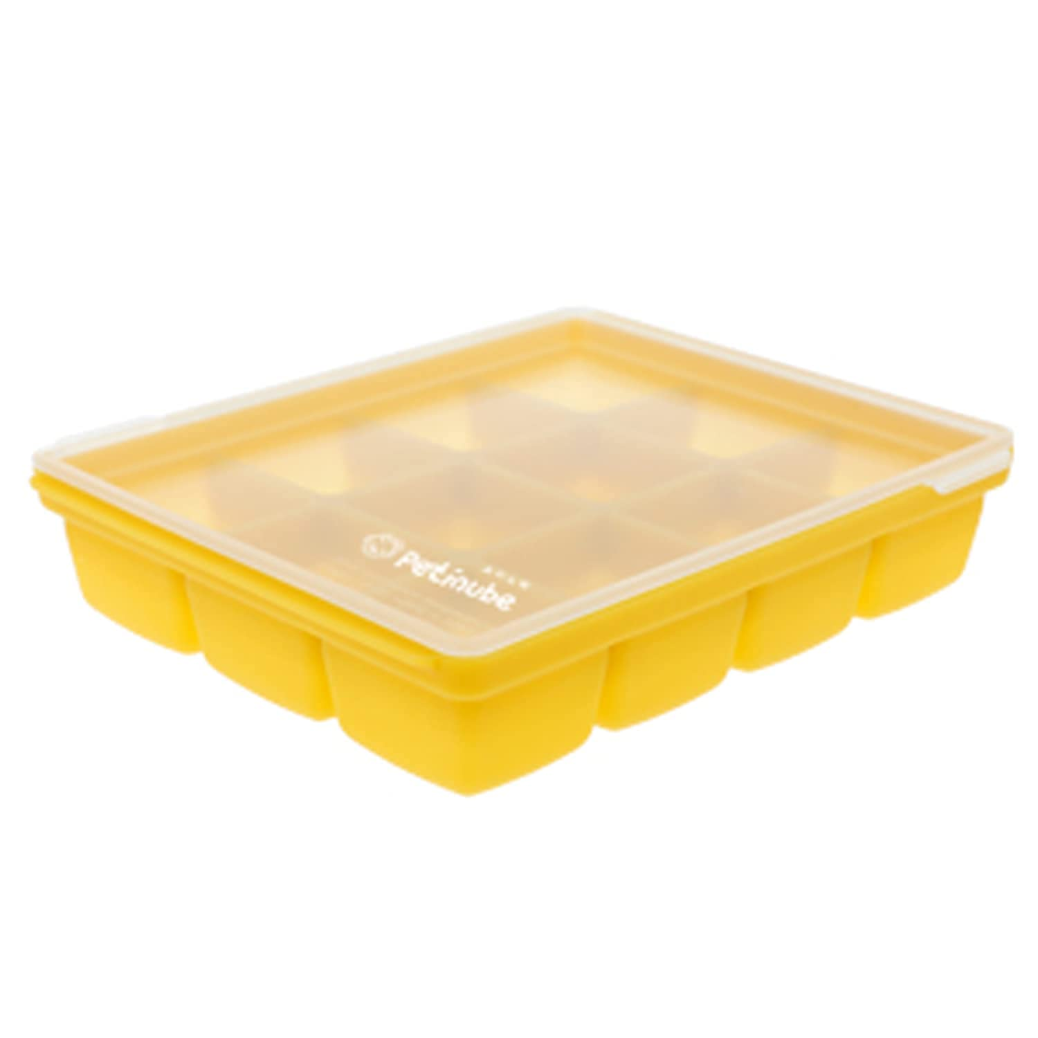 Petinube Silicone Cubes for Baby Food Storage, Silicone Baby Food Freezer Tray with Clip-On Lid, Freezer Storage with Lid for All Kinds of Baby Food, Easy and Safe Design (Mustard, 12 Cubes)
