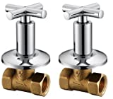 Royal H&H Concealed Shut Off Valve Straight with Modern Cross Handle Water Shower Home Plumbing Commercial 3/4-Inch IPS G3/4 One Pair