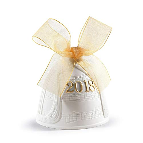 (Lladro Christmas Bell 2018 Porcelain 01018438 Annual Ornament 8438 Yellow Ribbon Hand Made in Spain )