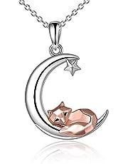 Fox Ketting Sterling Zilver Leuke Origami Fox Moon Hanger Sieraden Geschenken voor Vrouwen Sieraden