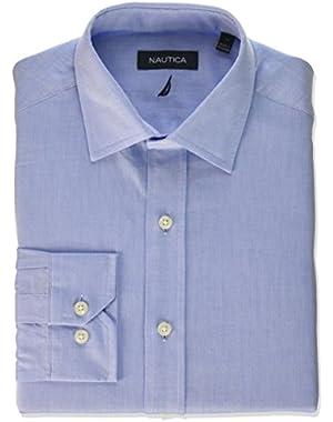 Men's Solid Twill Spread Collar Dress Shirt