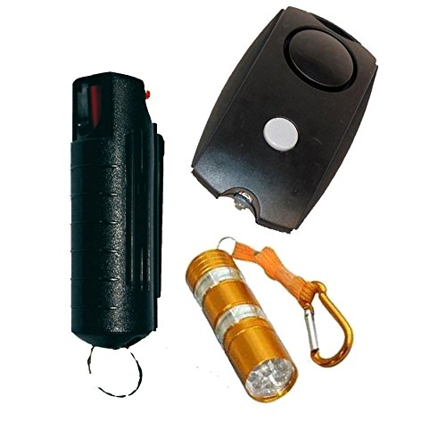 College Safety Bundle: Wildfire 1/2 Oz 18% Pepper Spray, Personal Alarm and a BONUS Flashlight - Lot of 3 as Shown by Wildfire Motors