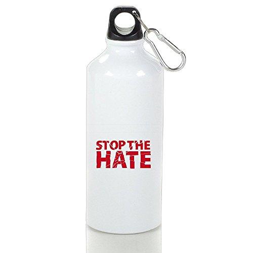WATE Stop The Hate Orlando Nightclub Shooting Aluminum Water Sports Bottle 400ml White For Traveling Climbing Hiking Biking