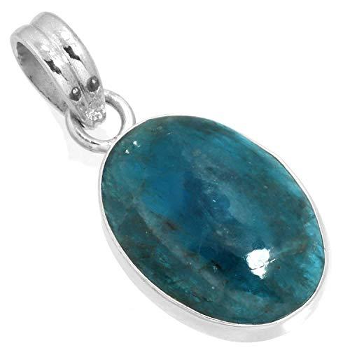 Natural Neon Blue Apatite Gemstone Pendant Solid 925 Sterling Silver Designer Jewelry