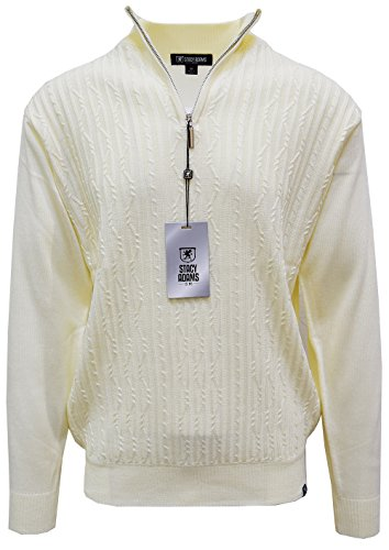 STACY ADAMS Men's Sweater, Solid Cable Knit Twist (Large, Cream)
