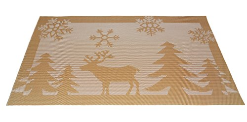 Dining Room Christmas Pattern Placemats for Table Heat Insulation Stain-resistant Woven Vinyl Ki ...