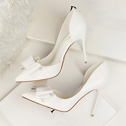 IGEMY Women Pumps Sweet Bowknot High Heels Shoes Sexy Thin Pointed Single Shoes White 0fz7i