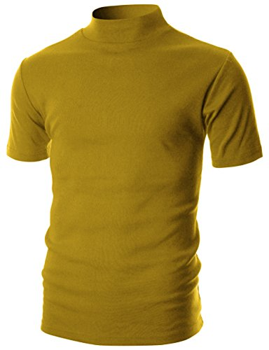 Ohoo Mens Slim Fit Flice Short Sleeve Pullover Lightweight Mockneck/DCT105-PRIMROSE Yellow-M