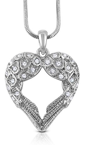 - Small Heart Shaped Guardian Angel Wings Crystal Pendant and Chain - Inspirational Religious Jewelry Gifts for Women, Teens, Girls ()