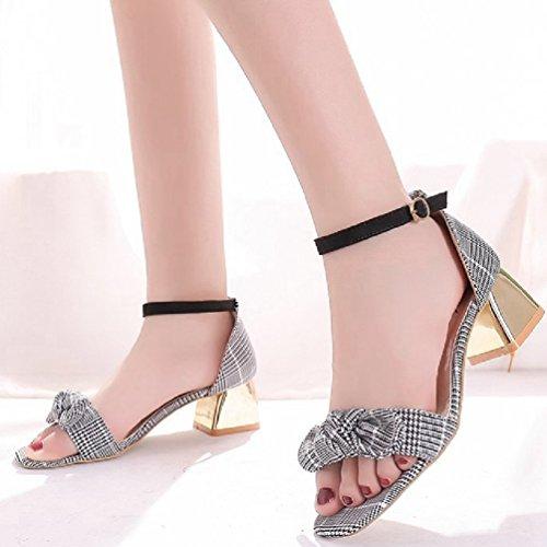 Chaussures Talons Brut d'été Toe Fashion Sangle Robe Open Femme Talon Cheville Bowknot Rome Noir Sandales wnxqFppaPE