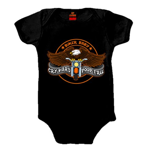 Hot Leathers Cry Hard Kids Onesie (Black, 18 Months)