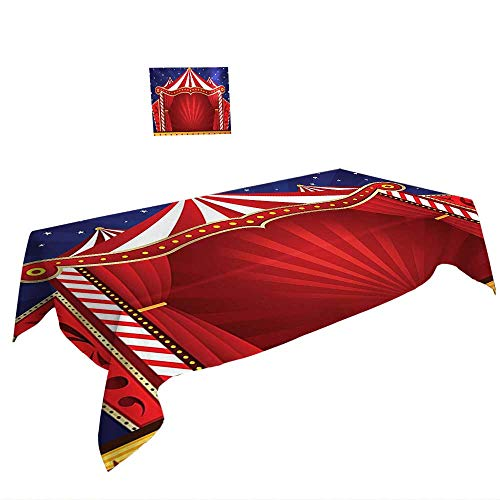 Warm Family White ectangular Table Cloth Kids Circus Decor Tent Stage Backdrop Print Performing Activity Play Decorations Theater Themed Navy Blue Red. Suitable All Occasions, W29.5 x L69 -