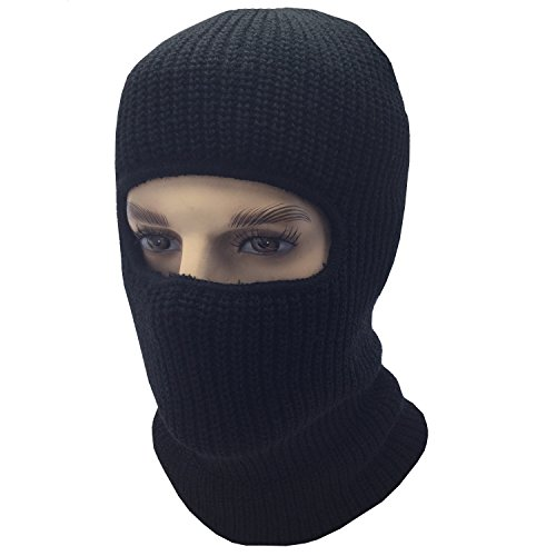 Mens Black Knit Thermal Face Ski Mask One - Hole Ski Mask