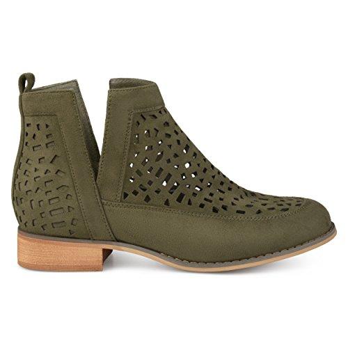 (Brinley Co. Womens Faux Suede Geometric Laser Cut Side Split Stacked Wood Heel Booties Olive, 7 Regular US)