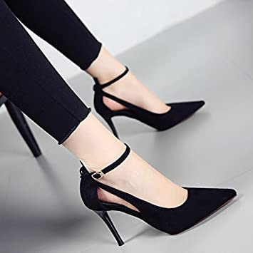 SHOESHAOGE Fashion Temperament Sharp And High Heels Hollow With A Word Buckle With A Shallow Mouth Shoes Female...