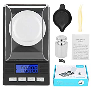 Digital Milligram Jewelry Scale, LED Digital Display Mini Portable High Precision 0.001g Pocket Jewelry Scale with Calibration Weights Tweezers and Weighing Pans (50g)