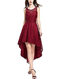 Womens Retro Lace High-Low Formal Vintage Rockabilly Prom Homecoming Party Evening Cocktail Bridesmaid Dress