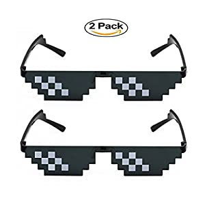 Elite Deal With It Glasses Thug Life Unisex Sunglasses 8 Bit Pixel (2 Pack 6 Dot)
