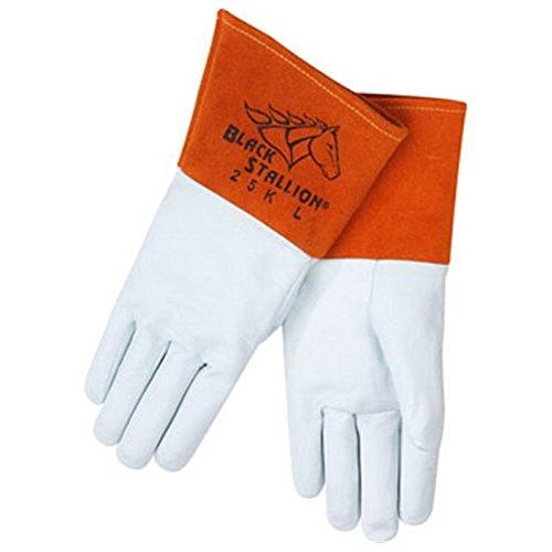 Black Stallion 25K Long Cuff Prem.Grain Kidskin TIG Welding Gloves, La Revco 25KL