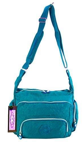 GFM bolsa tipo bandolera de cruzada para tela de nailon de Style 1 - Turquoise (04TX)