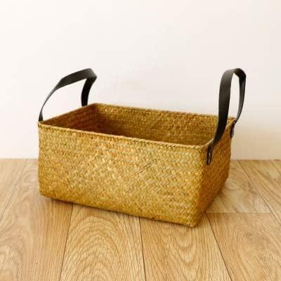 YUANSS Seaweed Woven Storage Box Retro Rectangular Rattan Bamboo Storage Box Storage Basket Bathroom Finishing Basket