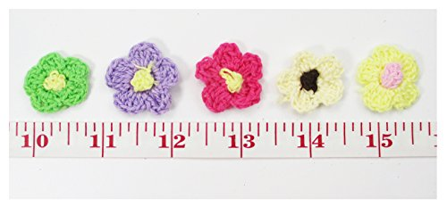 """ALL in ONE 80pcs Mixed 1"""" Mini Crocheted Flowers Appliques Embellishment for DIY Craft Clothing"""