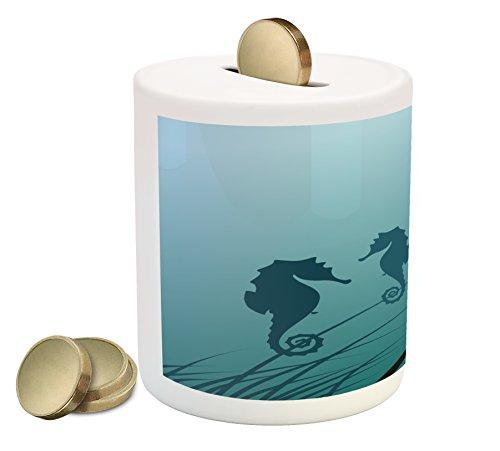 Lunarable Animal Piggy Bank, Seahorse Couple Underwater Creature Miss His Love Algae Artsy Illustration Print, Printed Ceramic Coin Bank Money Box for Cash Saving, Green ()