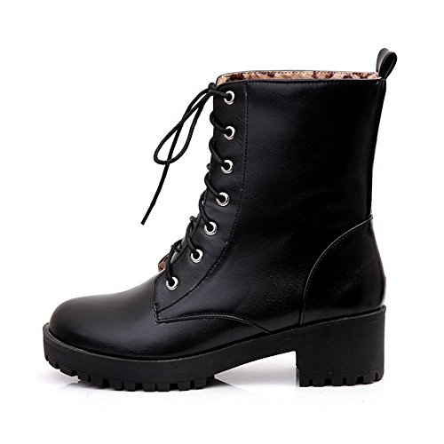 AllhqFashion Womens Soft Material Lace-Up Round Closed Toe Kitten-Heels Low-Top Boots Black 8lYv1