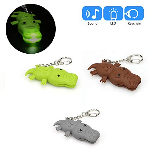 - Glumes Cute Crocodile Keychain with LED Flashlight and Sound Effects 3D Cute Cartoon Key Holder For Children Designer Key Ring for Kids Christmas Thanksgiving Gift 1 PCS (Green)