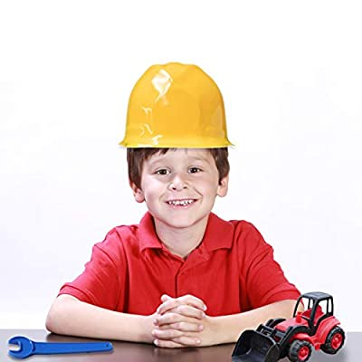12 Pack Yellow Construction Hard Hat Plastic Birthday Party Supplies Worker Caps Set Halloween Costume Toy: Toys & Games