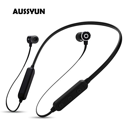 AUSSYUN True Hi-Fi Stereo Sounds Bluetooth Headphones, TF Card Player,A-PTX Earphone with Micro Mic, Neckband Sport Gym Headphones for Sports Workouts, 8-10 Hours Playing (Black) from AUSSYUN