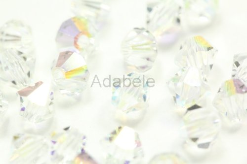 Polished Faceted Clear Quartz Crystal (24 6mm Adabele Austrian Bicone Faceted Crystal Beads Clear AB Alternative For Swarovski Preciosa Crystalized 5301/5328 #SSB602)