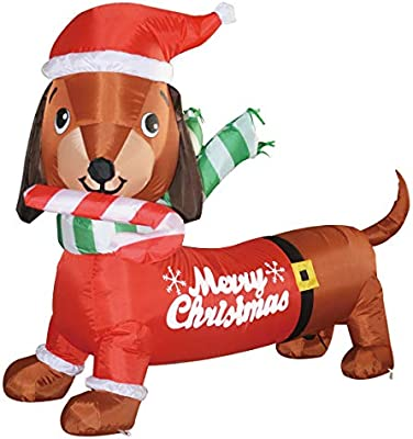 Amazon Com Goosh 5 Ft Long Indoor Outdoor Yard Garden Christmas Decoration Dog Self Inflatable With Suit Perfect For Dachshund Blow Up Yard Decoration Garden Outdoor