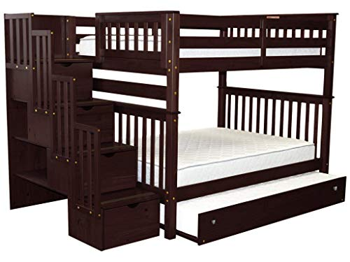 Bedz King Stairway Bunk Beds Full over Full with 4 Drawers in the Steps and a Twin Trundle, Cappuccino
