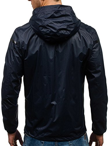 Men's Zip Blue Hood BOLF Sport Transitional Outdoor Casual 4D4 Plain Military Jacket Navy 8011 Ribbed Mix 4wBdq