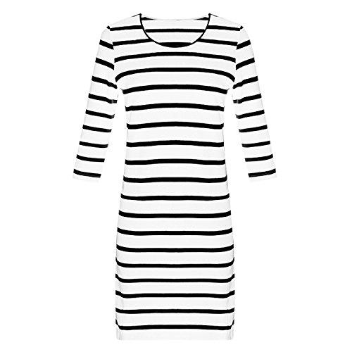 Shirt Femme Mi 3 T Manner Chemisier shirt Manche Bold 4 Robe Rayure Basique Blanc longue Casual Tunique Robe Longue Tee Txpw5Yq