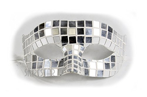 Mirrored Venetian Masquerade Mask (Silver Mirror)