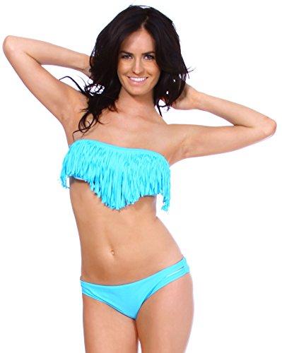 Simplicity Women's Summer Boho Fringe Padded Bandeau Bikini Set, Blue, M