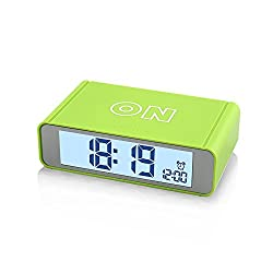 Flip Alarm Clock,FAMICOZY Nightstand Travel Alarm Clock,Turn Alarm On/Off by Flip,Repeating Snooze,Sensor Nightlight,Compact Size,Cool Digital Clock for Kids,Teens,Travelers,Green