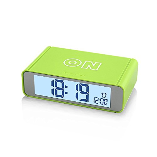 Flip Alarm Clock,FAMICOZY Nightstand Travel Alarm Clock,Turn Alarm On/Off by Flip,Repeating Snooze,Sensor Nightlight,Compact Size,Cool Digital Clock for Kids,Teens,Travelers,Green (Side Table Alarm Clock)