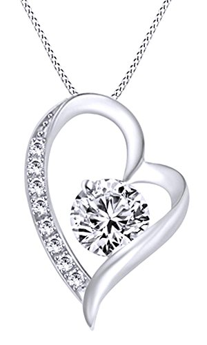 [Tilted Heart 0.2 Ct Cubic Zirconia Pendant Necklace In 14K White Gold Over Sterling Silver] (0.2 Ct Heart)