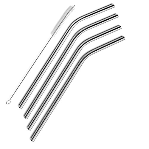 SipWell Stainless Steel Drinking Straws, Set of 4, Free Cleaning Brush (Stainless Straws)