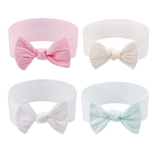 Subesty Baby Girls Elastic Nylon Headband Bow Knot Hair Band For Toddler Infant Set Of 4 ()