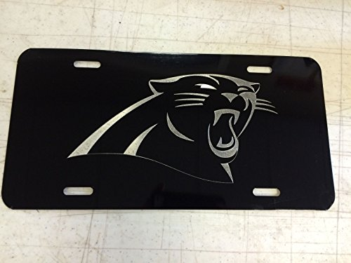 - Diamond Etched Carolina Panthers Logo Car Tag on Black Aluminum License Plate