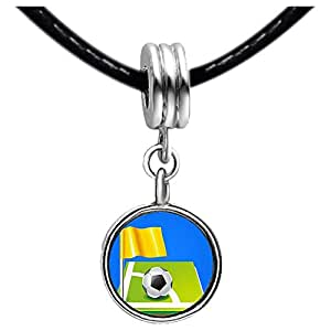 Chicforest Silver Plated UEFA Euro 2012 soccer ball with yellow flag Photo Purple Amethyst Crystal February Birthstone Flower dangle Charm Beads Fits Pandora Charm
