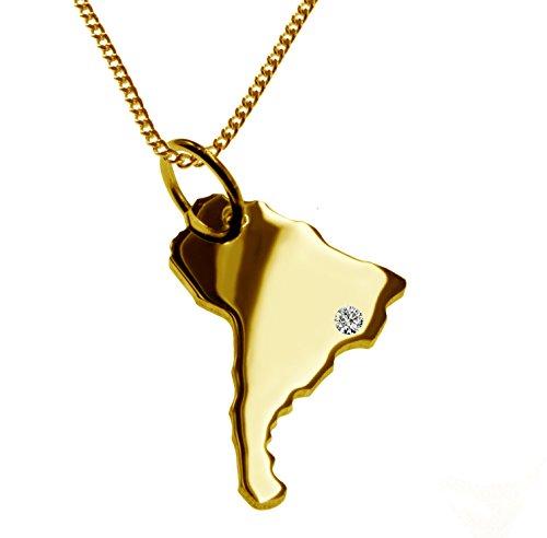 Endroit Exclusif Carte Amérique du Sud Pays Pendentif avec brillant à votre Désir (Position au choix.)-avec Chaîne-massif Or jaune de 585or, artisanat Allemande-585de bijoux