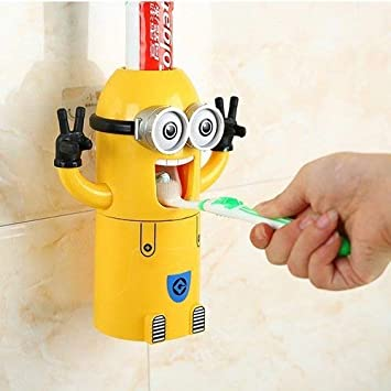 Cute Two Eyes Despicable Me Minions Design Combo Set Toothbrush Holder Automatic Toothpaste Dispenser with Rinse Cup (Yellow) MINION-DOUBLE-FBA