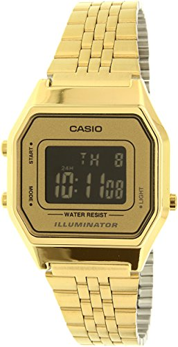 Casio Ladies Mid-Size Gold Tone Digital Retro Watch LA-680WGA-9BDF