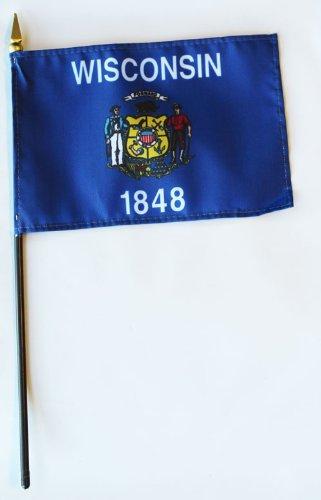 "Wisconsin - 4"" x 6"" State Stick Flag"