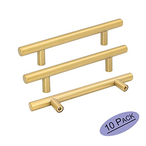 Goldenwarm 10Pack Golden Stainless Steel Modern Kitchen Door Cabinet T Bar Handle Pull Knob Brushed Brass Hole Spacing 5in 128mm